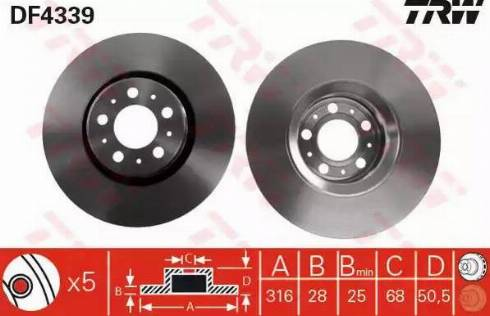 TRW DF4339 - Bremžu diski interparts.lv