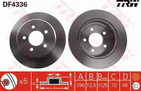 TRW DF4336 - Bremžu diski interparts.lv