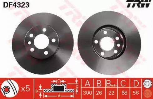 TRW DF4323 - Bremžu diski interparts.lv