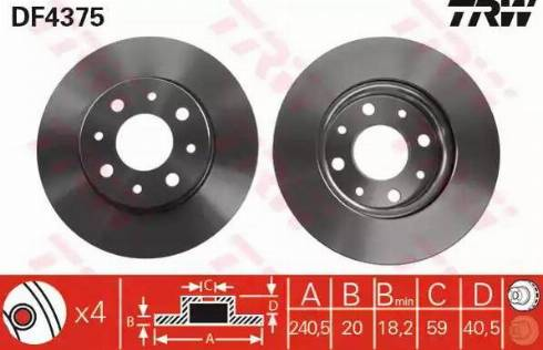 TRW DF4375 - Bremžu diski interparts.lv
