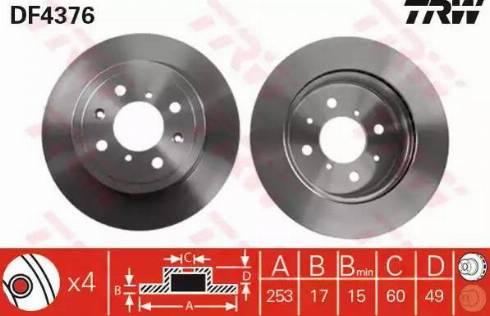 TRW DF4376 - Bremžu diski interparts.lv