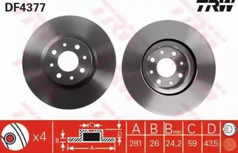 TRW DF4377 - Bremžu diski interparts.lv