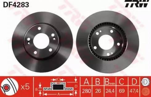 TRW DF4283 - Bremžu diski interparts.lv