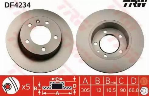 TRW DF4234 - Bremžu diski interparts.lv
