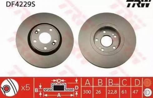 TRW DF4229S - Bremžu diski interparts.lv