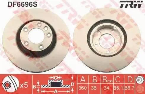TRW DF6696S - Bremžu diski interparts.lv