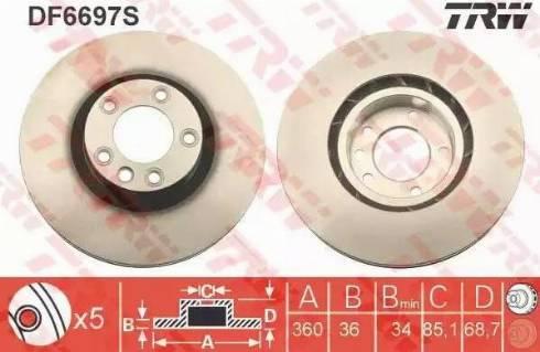 TRW DF6697S - Bremžu diski interparts.lv