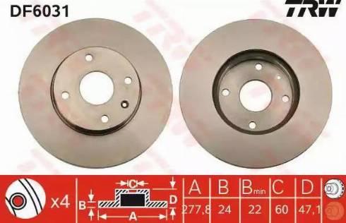 TRW DF6031 - Bremžu diski interparts.lv