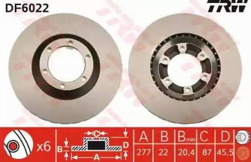 TRW DF6022 - Bremžu diski interparts.lv