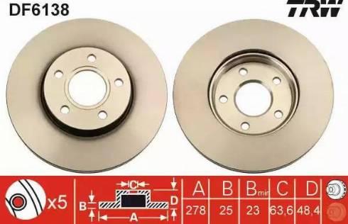 TRW DF6138 - Bremžu diski interparts.lv