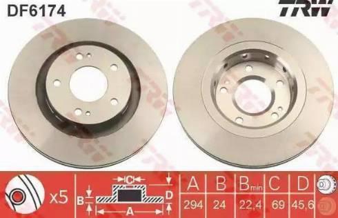 TRW DF6174 - Bremžu diski interparts.lv