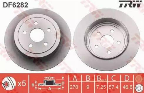 TRW DF6282 - Bremžu diski interparts.lv