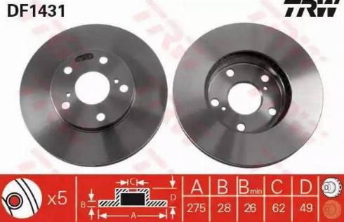 TRW DF1431 - Bremžu diski interparts.lv