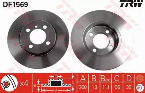 TRW DF1569 - Bremžu diski interparts.lv