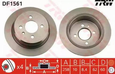 TRW DF1561 - Bremžu diski interparts.lv