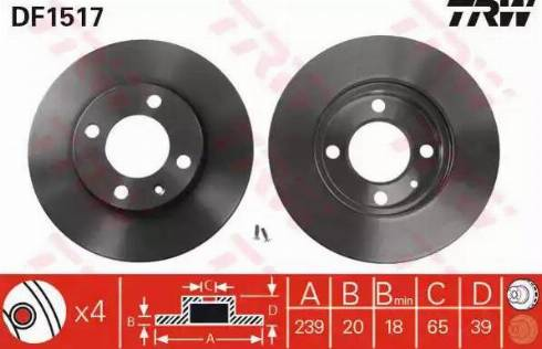 TRW DF1517 - Bremžu diski interparts.lv