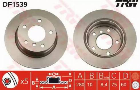 TRW DF1539 - Bremžu diski interparts.lv