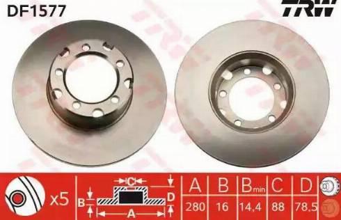 TRW DF1577 - Bremžu diski interparts.lv