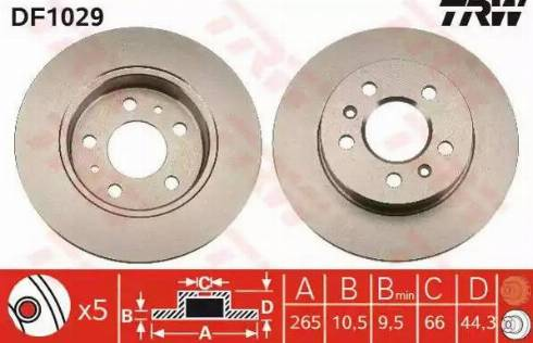 TRW DF1029 - Bremžu diski interparts.lv