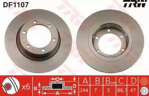 TRW DF1107 - Bremžu diski interparts.lv