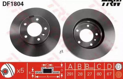 TRW DF1804 - Bremžu diski interparts.lv