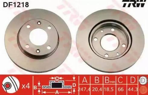 TRW DF1218 - Bremžu diski interparts.lv