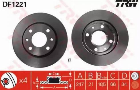TRW DF1221 - Bremžu diski interparts.lv