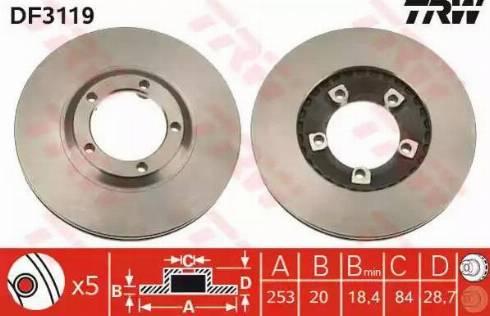 TRW DF3119 - Bremžu diski interparts.lv