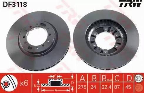 TRW DF3118 - Bremžu diski interparts.lv