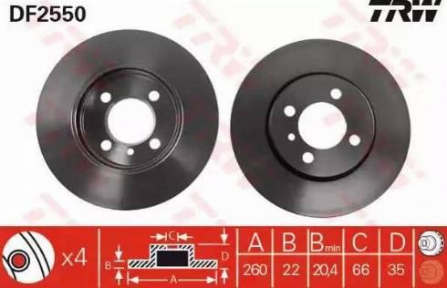 TRW DF2550 - Bremžu diski interparts.lv