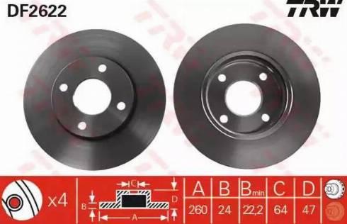 TRW DF2622 - Bremžu diski interparts.lv