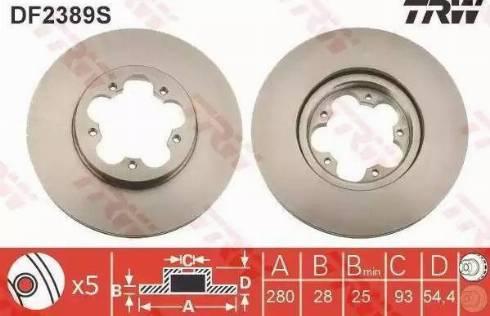 TRW DF2389S - Bremžu diski interparts.lv
