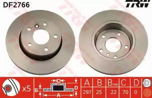 TRW DF2766 - Bremžu diski interparts.lv
