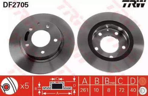 TRW DF2705 - Bremžu diski interparts.lv