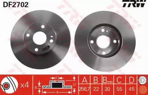 TRW DF2702 - Bremžu diski interparts.lv