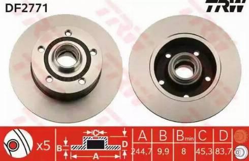 TRW DF2771 - Bremžu diski interparts.lv