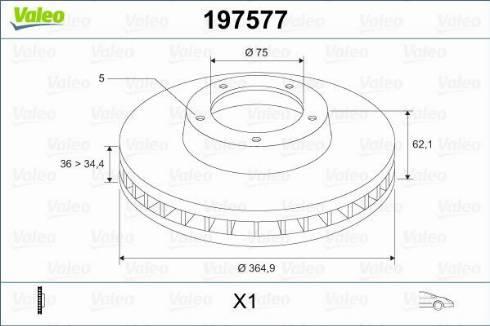 Valeo 197577 - Bremžu diski interparts.lv