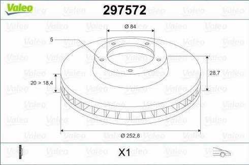 Valeo 297572 - Bremžu diski interparts.lv