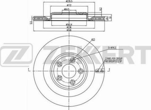 Zekkert BS-5438 - Bremžu diski interparts.lv