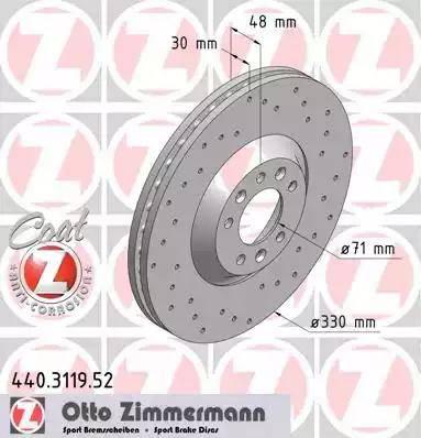 Zimmermann 440.3119.52 - Bremžu diski interparts.lv