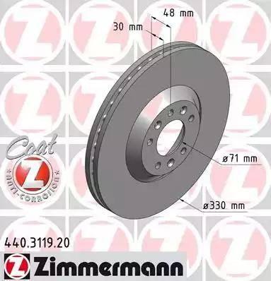 Zimmermann 440.3119.20 - Bremžu diski interparts.lv