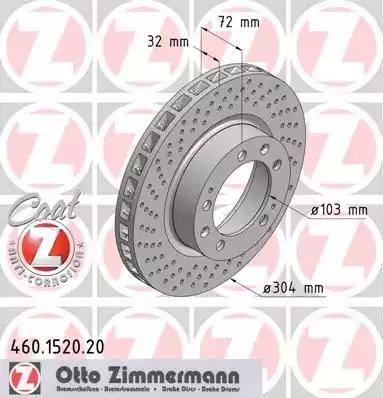 Zimmermann 460.1520.20 - Bremžu diski interparts.lv