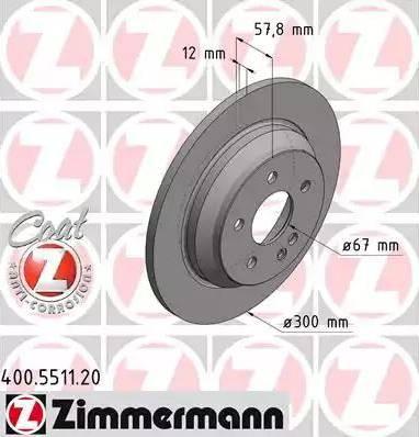 Zimmermann 400.5511.20 - Bremžu diski interparts.lv
