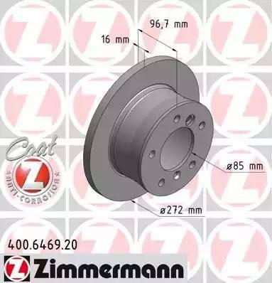 Zimmermann 400.6469.20 - Bremžu diski interparts.lv