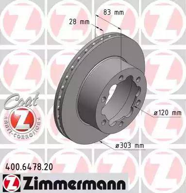 Zimmermann 400.6478.20 - Bremžu diski interparts.lv