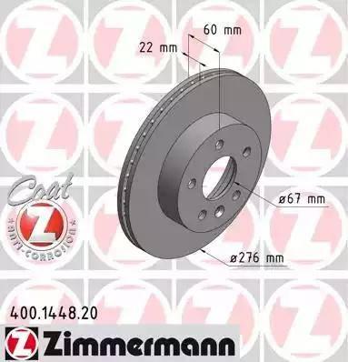 Zimmermann 400.1448.20 - Bremžu diski interparts.lv