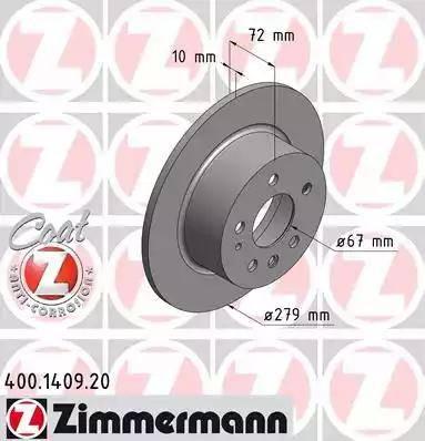 Zimmermann 400.1409.20 - Bremžu diski interparts.lv