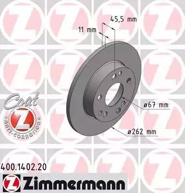 Zimmermann 400.1402.20 - Bremžu diski interparts.lv