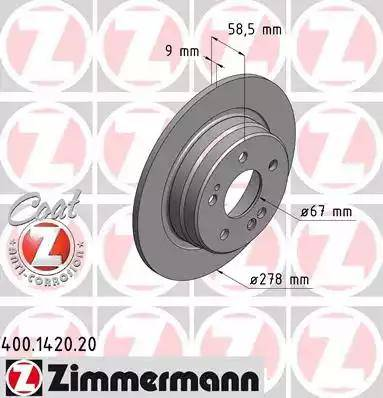 Zimmermann 400.1420.20 - Bremžu diski interparts.lv