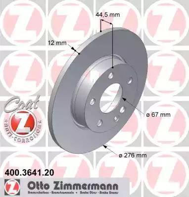 Zimmermann 400.3641.20 - Bremžu diski interparts.lv